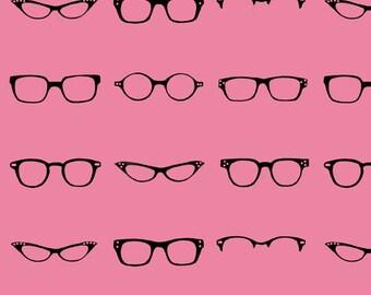 Riley Blake Designs, Geekly Chic, Geekly Glasses Hot Pink Fabric - Half Yard