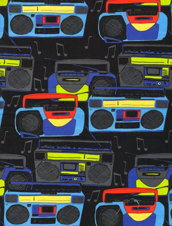 Timeless Treasures, Boom Boxes Black Fabric - By the Yard