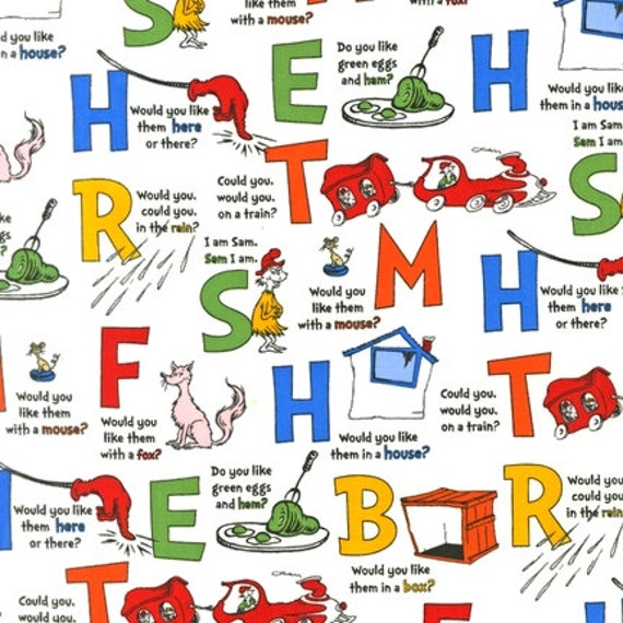 NEW Dr. Seuss, Green Eggs and Ham, Letters Celebration Fabric - By the ...