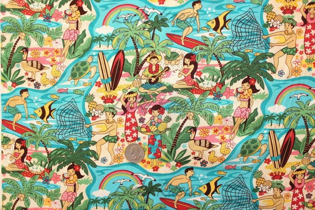 Kawaii Hawaii Island Hula Girl Anime Cartoon Turquoise Fabric