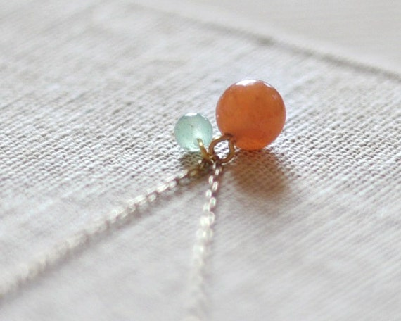 Aventurine necklace - orange necklace - green necklace - natural stone necklace - earthy jewelry - gold filled chain - Apricot