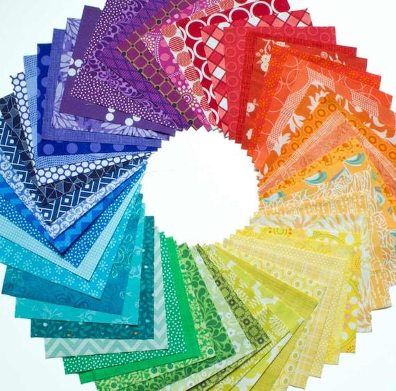54 Color Wheel Charm Squares Quilting Fabric Bundle