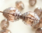 Czech Glass Cathedral Beads Wavy 10x8mm Fire Polish Pink with Silver (Qty 7) SRB-10x8FP-CW-PINK-S