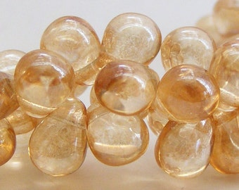 Czech Glass Teardrop Beads 6x4mm Fringe Transparent Champagne Luster (25pk) SI-6x4D-TCL