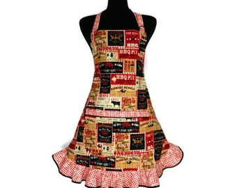 Barbeque Apron for Women , Retro Kitchen Decor, Grilling , Adjustable, Pocket , Rust Check Flounce Ruffle
