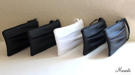 Bridesmaids Clutches-SET OF 11 Pleated Design Wristlets-Black White Purple Blue Silver Green Brown Yellow Green And More