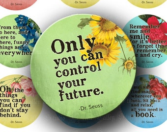 INSTANT DOWNLOAD Digital Collage Sheet Dr. Seuss Inspirational Life Quotes 1.5 Inch Circles for Poker Chip Pendants Tags Magnets (CPS23)