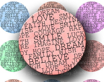 INSTANT DOWNLOAD Beautiful Words Love Smile Believe Digital Images Collage Sheet 1.5 Inch Circles for Poker Pendants Tags Magnets (CPS25)