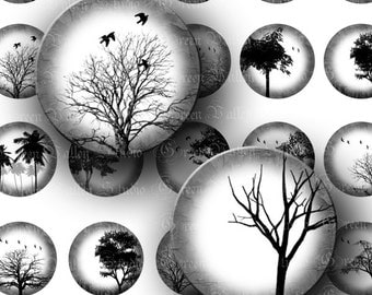 INSTANT DOWNLOAD Black and White Trees Landscapes Digital Collage Sheet Nature Birds One 1 Inch Circles for Pendants Magnets Crafts (C160)