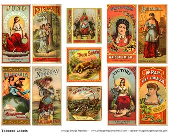 TOBACCO LABELS Vintage Images - Instant Download Digital Collage Sheet