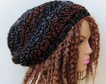 Slouchy hat, winter hat, spice slouchy beanie dread tam hat wool blend rust purple black