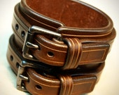 Leather cuff Bracelet Brown bridle leather Double strapped and scribed Detailing Custom made in NYC for YOU by Freddie Matara!