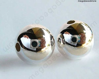 10mm 925 Sterling Silver Seamless Beads Plain Round High Polished B39