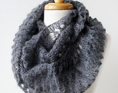 Women Fashion - Infinity Hand-Knit Scarf with Sequins - Mohair and Silk Cowl Snood Scarf - Charcoal Grey - ElenaRosenberg