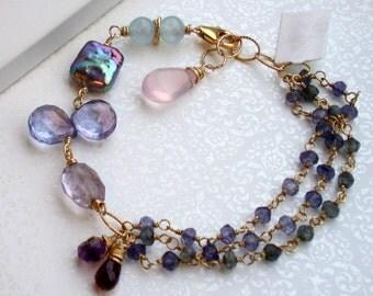 Iolite Gemstone Bracelet. Wire wrapped. Jewelry.