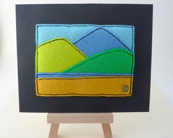 Three Mountains - Tiny Felt Appliqué Picture