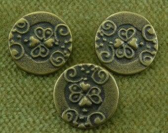 Franciacorte Antique Brass Heart Dimensional Swirled Italian Button  H8