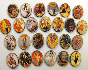 Circus Collection - 25 Wooden Cut Ovals with Vintage Circus Images