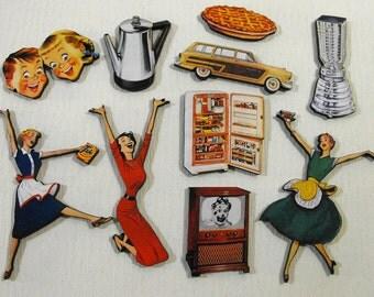Retro 1950's Domestic Life Wood Cuts - Laser Wooden Art Parts - Retro Mom