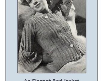 Vintage 1930s Elegant Bed Jacket cardigan Knitting Pattern Instant Download Pdf