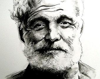 "Print 8x10"" - Ernest Hemingway - Author Writer Journalist American Beard Literature Fiction Stories Nobel Prize Alcohol Drunk Suicide Pop"