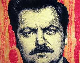 """Print 8x10"""" - Ron Swanson - Parks and Recreation Bacon Eggs Meat Steak Mustache Pop Art Food Nick Offerman Hipster Man Hunting Pig Eat"""