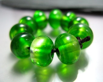 Handmade Lampwork Spacer Nugget Beads by GlassBeadArt ... Changing  transparent green ...  SRA F12 ... 9x7mm