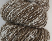 Handspun Exotic Yarn -- Brown and White -- Qiviut/Angora, 2.3 oz/65 gr, 95 yards