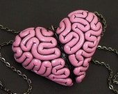 I Heart Brains Necklace in Pink, Brain Heart Jewelry