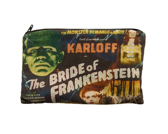 Bride of Frankenstein Makeup Bag Sized Zipper Pouch