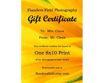 Gift Certificate - Printable E-mail Certificate for an 8x10 Fine Art Photograph from Flanders Field Photography