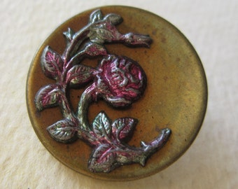 Vintage Victorian Picture Button - Brass Rose with tint