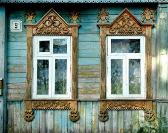 Decorative Russian Window Photography. Woodwork. Ancient architecture. Blue, turquoise, wood. Onion dome reflection. Russia.