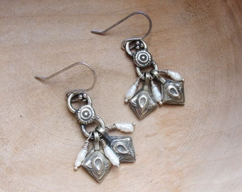 Kuchi and Pearl Earrings, Tribal Infusion, Vintage Kuchi handmade hammered finds Rustic Jewelry