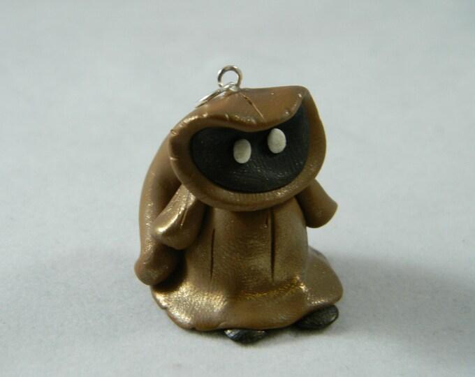 Alien Jawa pendant in polymer clay