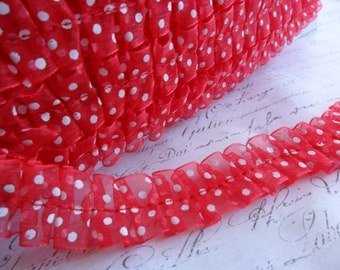 Red and White Polka Dot Organdy Ruffle Trim