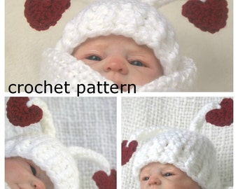Crochet PATTERN PDF - Valentines Baby Hat  3 sizes included,  Heart Hat