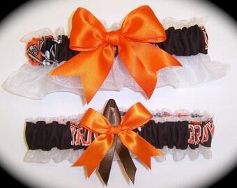 Cleveland Browns Wedding Garter Set    Handmade   Keepsake and Toss  Bridal ob1