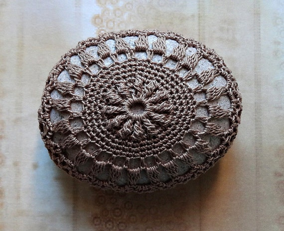 Gift Ideas, Crochet Lace Stone, Art, Original, Home Decor, Collectible, Soft Brown Thread on a Brownish Gray Stone, Handmade