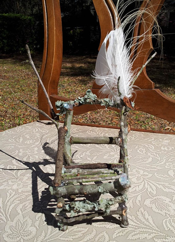 Dame Darcy, Egret Feather Lounge chair, Doll, Faery, Fantasy, whimsical, Miniature, Furniture, Native American