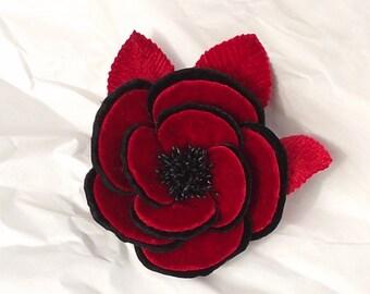 New Velvet Camellia Flower Black & Red  Millinery Bridal Wedding Corsage Boutoniere Crafts
