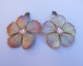 Soft Pink Flower Barrettes, Pink Barrettes, Flower Snap Barrettes