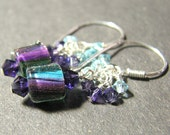 Petite  purple, turquoise and green dangle furnace bead earrings Crystal clusters  Sterling silver COOL COLORS