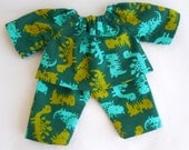 dinosaurs, doll pajamas, 10 - 12 inch clothes, for waldorf doll, waldorf toy, for boy dolls, gift for kids