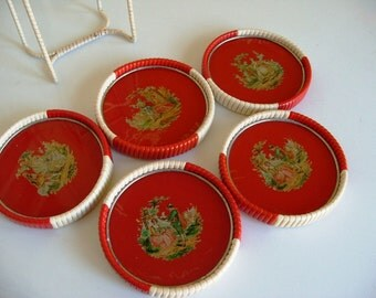 Vintage Red and White Coaster Set - Made in Western Germany