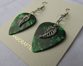 Genuine Fender guitar pick and charm earrings - Laced Leaf