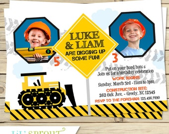 Construction Themed Boys Joint Birthday Invitation - Twin Backhoe or Dumptruck Invitation - Siblings, brothers- Shared birthday - dual party