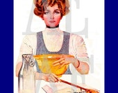 QS-010 Artistic Ephemera Art - 8x10 PRINT - Retro Lady - Perfect Recipe Arsenic - Also Available as Small Prints, Postcards and Recipe Cards