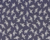 Navy Origami Cranes Cotton Gauze Tenugui Japanese Fabric w/Free Insured Shipping