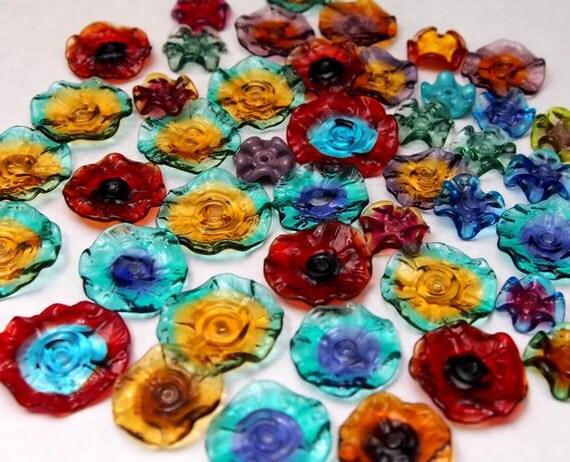 Orphan Clearance (40) - Mermaid Glass Fairy Flowers and Ruffles lampwork beads